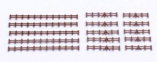 Kestrel GMKD13B Brown Farm Rail Fencing 86mm x5 lengths (N gauge plastic kit)