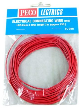 Peco PL-38R Electrical Wire, Red, 3 amp, 16 strand (7 metres)