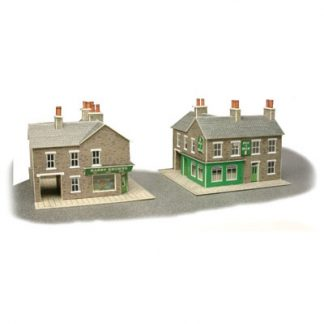 Metcalfe PN117 N Scale Corner Shop & Pub in Stone (N scale card kit)